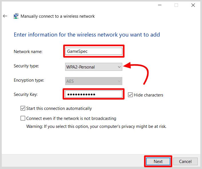 set-username-password-to-network-profile